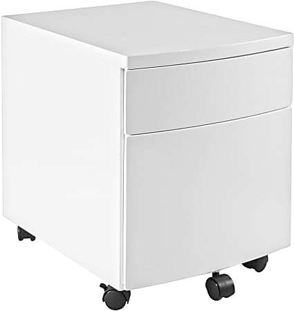 """Eurostyle Ingo 16""""D Vertical 2-Drawer Commercial Rolling File Cabinet, White"""