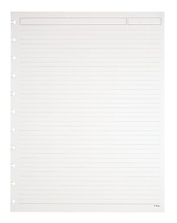 """TUL® Discbound Refill Pages, 8-1/2"""" x 11"""", Narrow Ruled, Letter Size, 50 Sheets, White"""