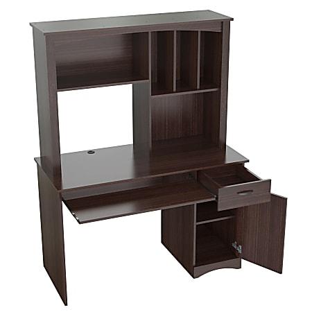 Inval Bandya Computer Desk/Workcenter With Hutch, Espresso-Wengue