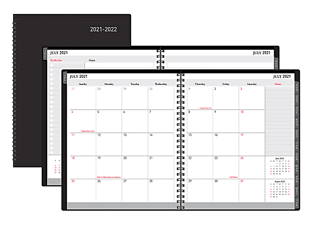"""Office Depot® Brand Weekly/Monthly Academic Planner, Horizontal Format, 8"""" x 11"""", 30% Recycled, Black, July 2021 to August 2022"""
