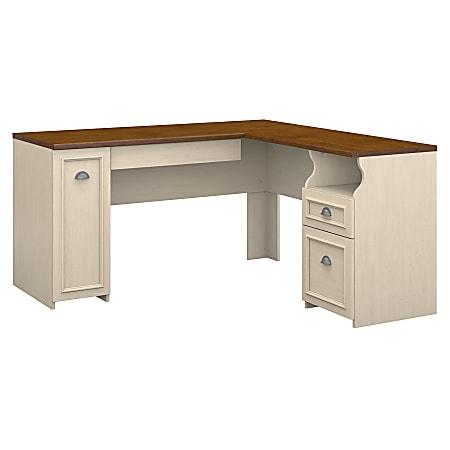 Bush Furniture Fairview L Shaped Desk, Antique White/Tea Maple, Standard Delivery