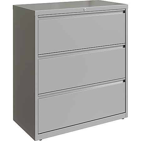 """Lorell 36""""W Lateral 3-Drawer File Cabinet, Metal, Silver"""