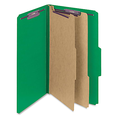 """Smead® Classification Folders, Top-Tab With SafeSHIELD® Coated Fasteners, 2"""" Expansion, Legal Size, 50% Recycled, Green, Box Of 10"""
