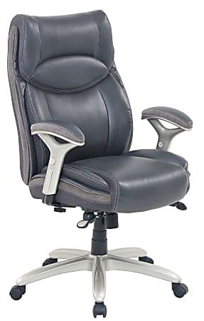 Serta® Smart Layers™ Jennings Big And Tall Ergonomic Bonded Leather High-Back Executive Chair, Dark Gray/Silver