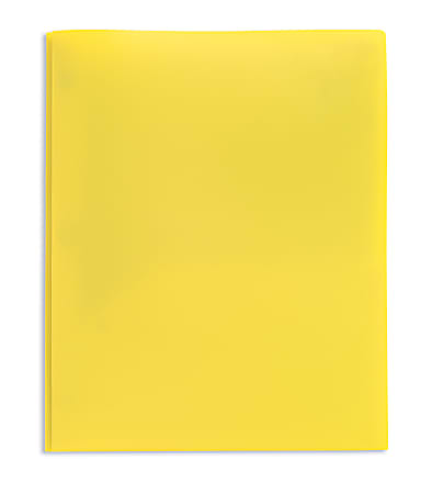 Office Depot® Brand 2-Pocket Poly Folder with Prongs, Letter Size, Yellow