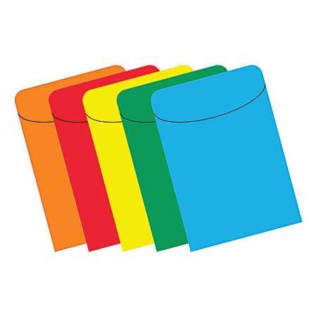 """Top Notch Teacher Products® Primary Pockets, 5 1/2"""" x 3 1/2"""", Assorted Colors, Case Of 500"""