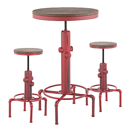 LumiSource Hydra Industrial Table With 2 Stools, Vintage Red/Brown Bamboo