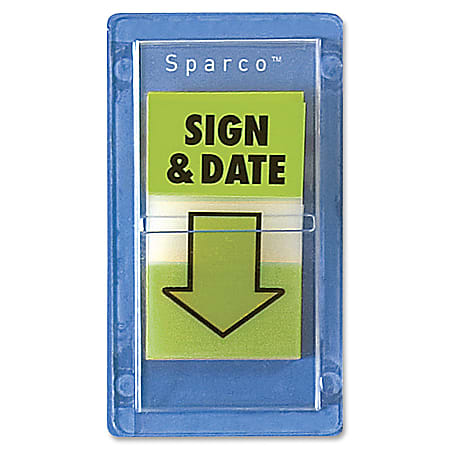"""Sparco """"Sign & Date"""" Preprinted Self-Stick Flags, 1"""" x 1 3/4"""", Green, Pack Of 100"""