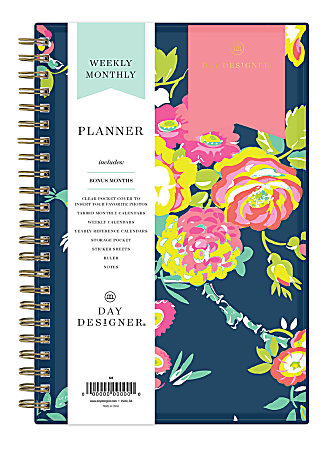 "Blue Sky™ Day Designer Weekly/Monthly CYO Planner, 5"" x 8"", Peyton Navy, January To December 2021, 103620"