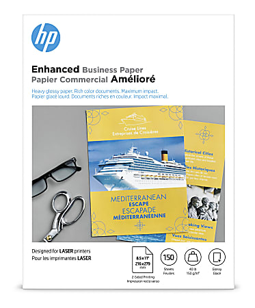 """HP Enhanced Business Paper for Laser Printers, Glossy, Letter Size (8 1/2"""" x 11""""), Heavy 40 Lb, Pack Of 150 Sheets (Q6611A)"""