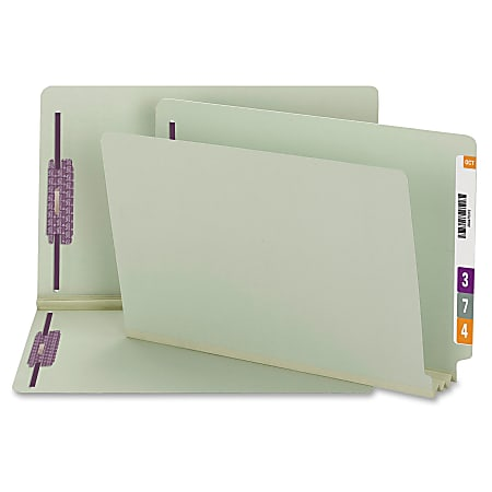 """Smead® End Tab Pressboard Fastener Folders with SafeSHIELD®, 8 1/2"""" x 14"""", 3"""" Expansion, Gray/Green, Box Of 25"""