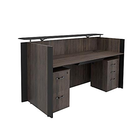 "Forward Furniture Allure 80""W Double-Pedestal Reception Desk, With Center Drawer, Southern Walnut/Black"