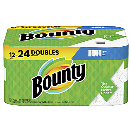 Bounty® Select-A-Size® Double 2-Ply Paper Towels, 98 Sheets Per Roll, Pack Of 12 Rolls