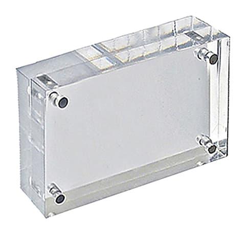 "Azar Displays Imperial Acrylic Block Sign Holder, 3""H x 4-1/2""W x 1-1/2""D, Clear"