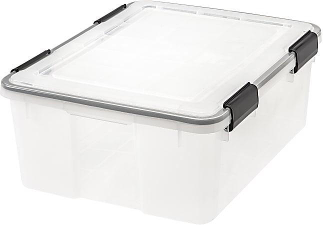 "IRIS® Weathertight® Storage Container, 30 Quarts, 7 3/4"" x 15 3/4"" x 19 3/4"", Clear"