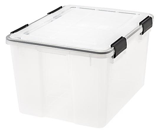 "IRIS® Weathertight® Storage Container, 46 Quarts, 11 4/5"" x 15 4/5"" x 19 7/10"", Clear"