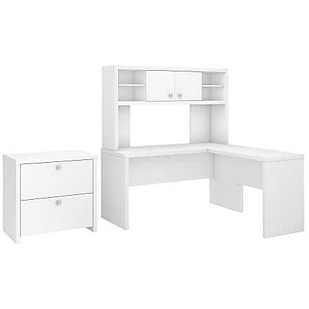 kathy ireland® Office by Bush Business Furniture Echo L Shaped Desk With Hutch And Lateral File Cabinet, Pure White, Premium Installation