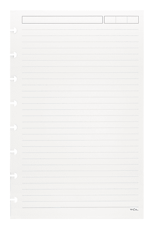 TUL® Discbound Refill Pages, Junior Size, Narrow Ruled, 50 Sheets, White