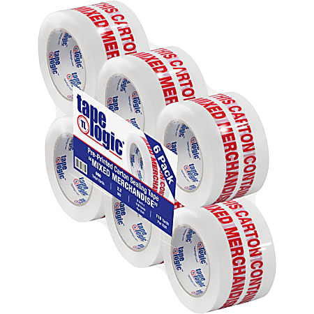 """Tape Logic® Mixed Merchandise Preprinted Carton Sealing Tape, 3"""" Core, 3"""" x 110 Yd., Red/White, Pack Of 6"""
