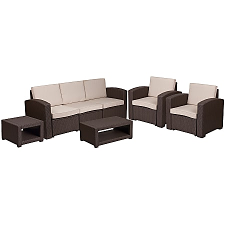 Flash Furniture 5-Piece Outdoor Faux-Rattan Sofa, Chair and Table Set, Chocolate Brown