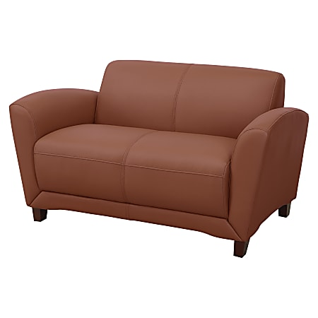 Lorell® Accession Bonded Leather Reception Loveseat, British Tan