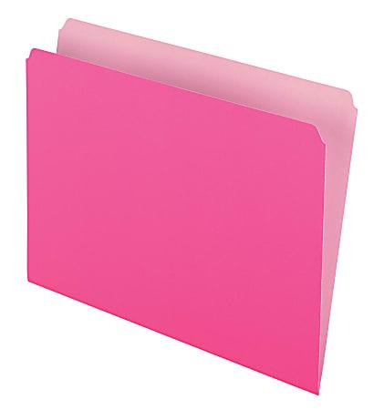 Pendaflex® Straight-Cut Color File Folders, Letter Size, Pink, Box Of 100
