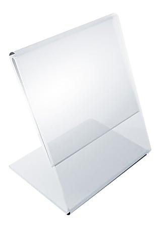 """Azar Displays L-Shaped Acrylic Sign Holders, 4""""H x 3""""W x 3""""D, Clear, Pack Of 10 Holders"""