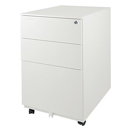 "Aurora 24""D Vertical 3-Drawer Mobile File Cabinet, Metal, White"