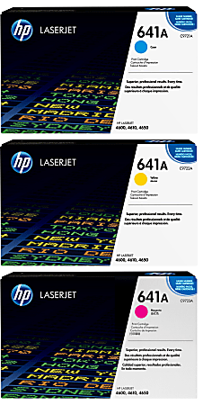 HP 641A HP641ACMY-OD Cyan/Magenta/Yellow Original Toner Cartridges, Pack Of 3 Cartridges