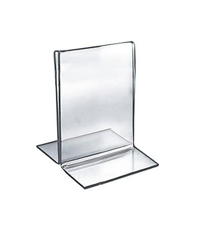 """Azar Displays Double-Foot 2-Sided Acrylic Sign Holders, 5""""H x 3-1/2""""W x 3""""D, Clear, Pack Of 10 Holders"""