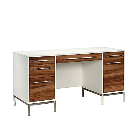 "Sauder® Vista Key 60""W Executive Desk, Pearl Oak/Blaze Acacia"