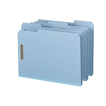 "Smead® Pressboard Fastener Folders, 1"" Expansion, 8 1/2"" x 11"", Letter, 100% Recycled, Blue, Box of 25"