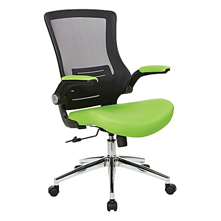 Office Star™ Work Smart Faux Leather Screen-Back Manager Chair With Padded Flip Arms, Green