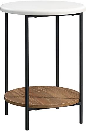 """Sauder® Tremont Row Round Side Table With Shelf, 22""""H x 16-1/2""""W x 16-1/2""""D, Sindoori Mango/White/Black"""