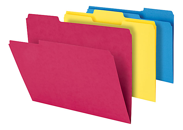 """Office Depot® Brand Heavy-Duty Top-Tab File Folders, 3/4"""" Expansion, 8-1/2"""" x 11"""", Letter Size, Assorted, Pack Of 18 Folders"""