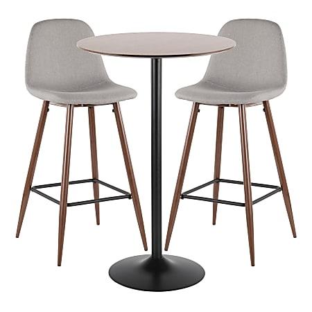LumiSource Pebble Mid-Century Modern Table With 2 Chairs, Black/Walnut/Light Gray