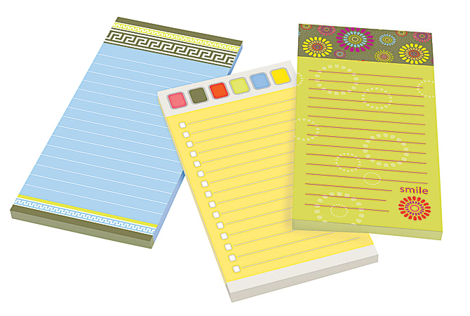 """Post it® Super Sticky Fun Design Notes With Magnet, 4"""" x 8"""", Assorted Colors, Pack Of 3 Pads"""