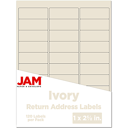 """JAM Paper® Mailing Address Labels, 17966071, 2 5/8"""" x 1"""", Ivory, Pack Of 120"""