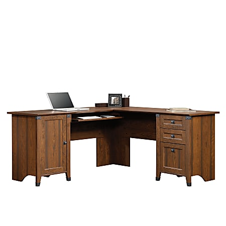 "Sauder Carson Forge ""L""-Shaped Engineered Wood Corner Computer Desk, Washington Cherry"