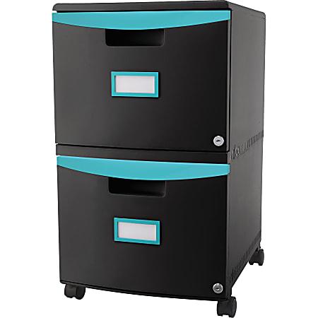 """Storex 26""""D Vertical 2-Drawer Mobile File Cabinet, Teal/Black"""