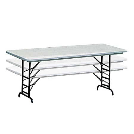 Realspace® Adjustable-Height Molded Plastic Top Folding Table, 6'W, Platinum