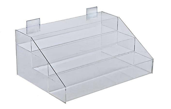 "Azar Displays 3-Tier Counter Display Organizer, 7""H x 16""W x 11-3/4""D, Clear"