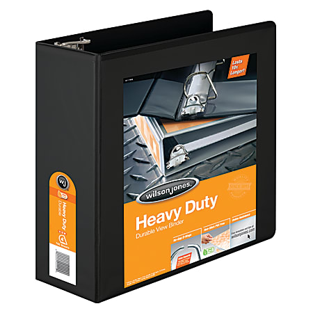 """Wilson Jones® 385 Heavy-Duty View 3-Ring Binder, 4"""" D-Rings, 48% Recycled, Black"""