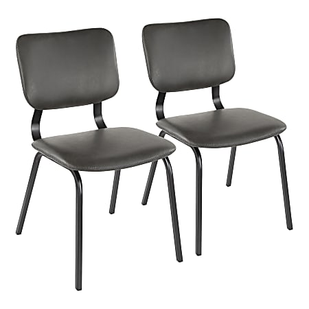 LumiSource Foundry Chairs, Black/Gray, Set Of 2 Chairs
