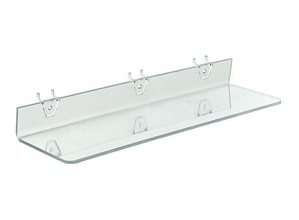 """Azar Displays Acrylic Shelves For Pegboards/Slatwalls, 20"""" x 4"""", Clear, Pack Of 4 Shelves"""