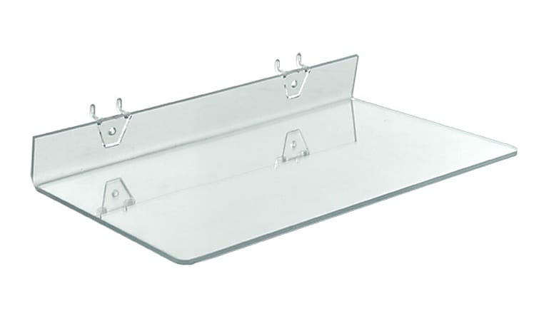 """Azar Displays Acrylic Shelves For Pegboard/Slatwall Systems, 16"""" x 8"""", Clear, Pack Of 4 Shelves"""