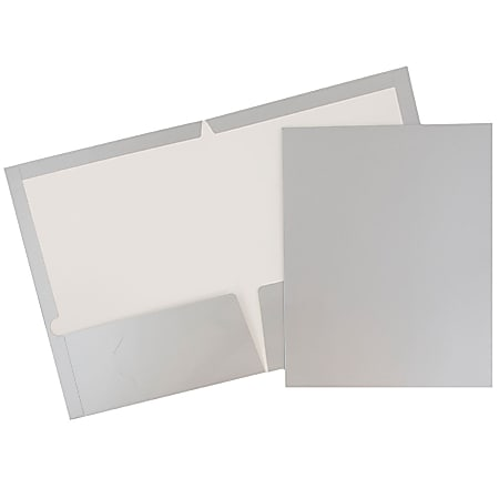JAM Paper® Glossy 2-Pocket Presentation Folders, Grey, Pack of 6