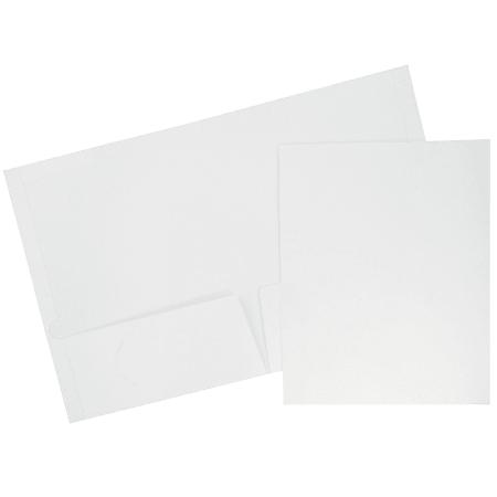 JAM Paper® Glossy 2-Pocket Presentation Folders, White, Pack of 6