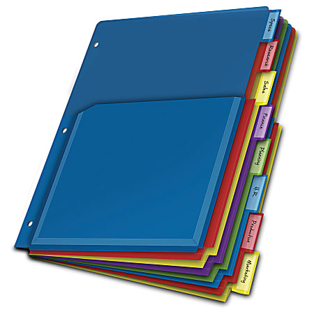 Office Depot® Brand Expanding Index Dividers, 8 Tabs, Assorted, Pack Of 8