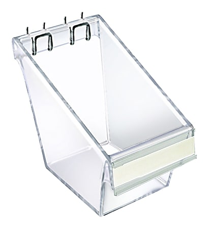 Azar Displays Display Buckets With C Channel, Small Size, Clear, Pack Of 4